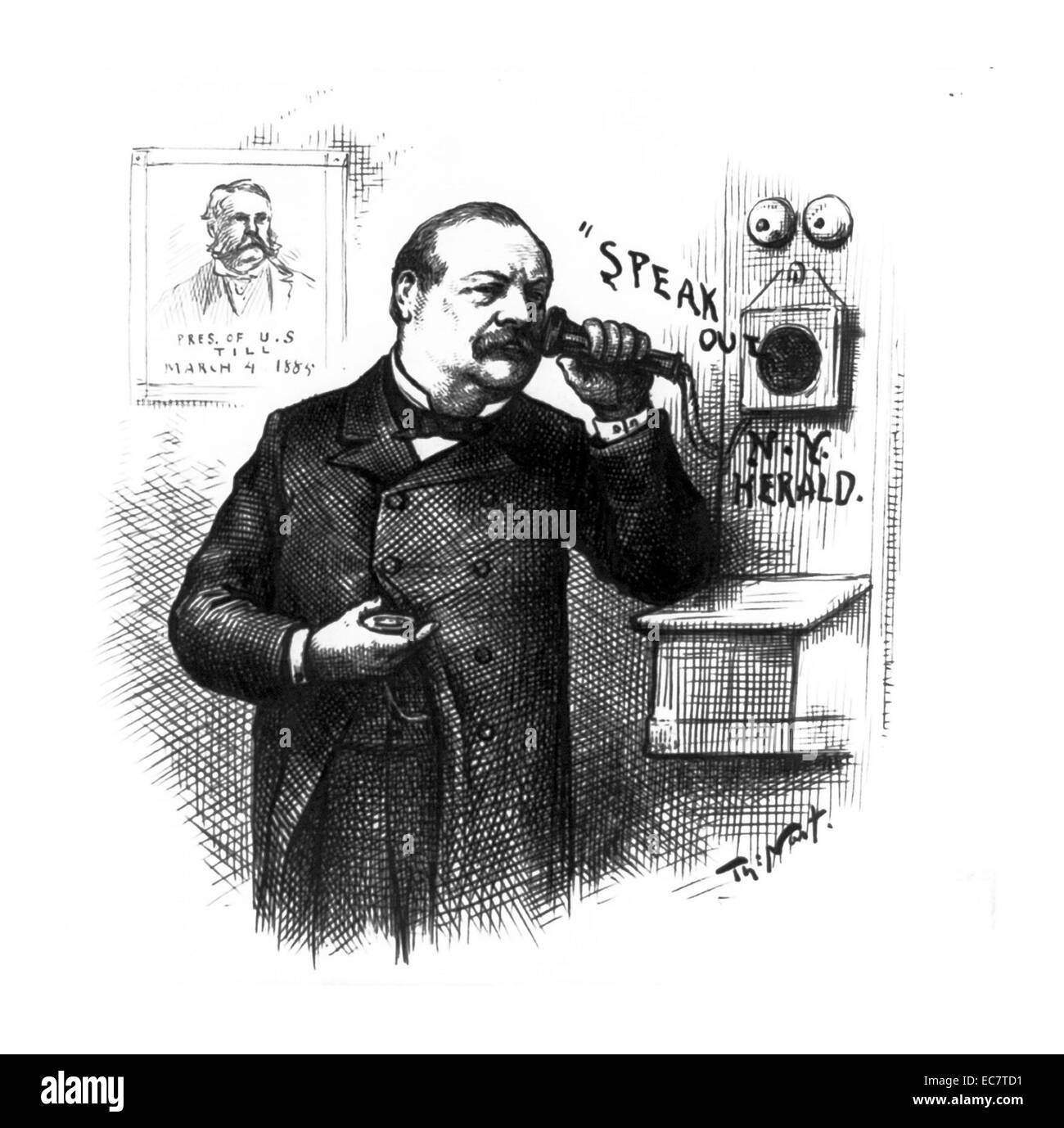 President-elect Grover Cleveland holds a telephon to his ear. On the wall is a portrait of President Chester A. - Stock Image