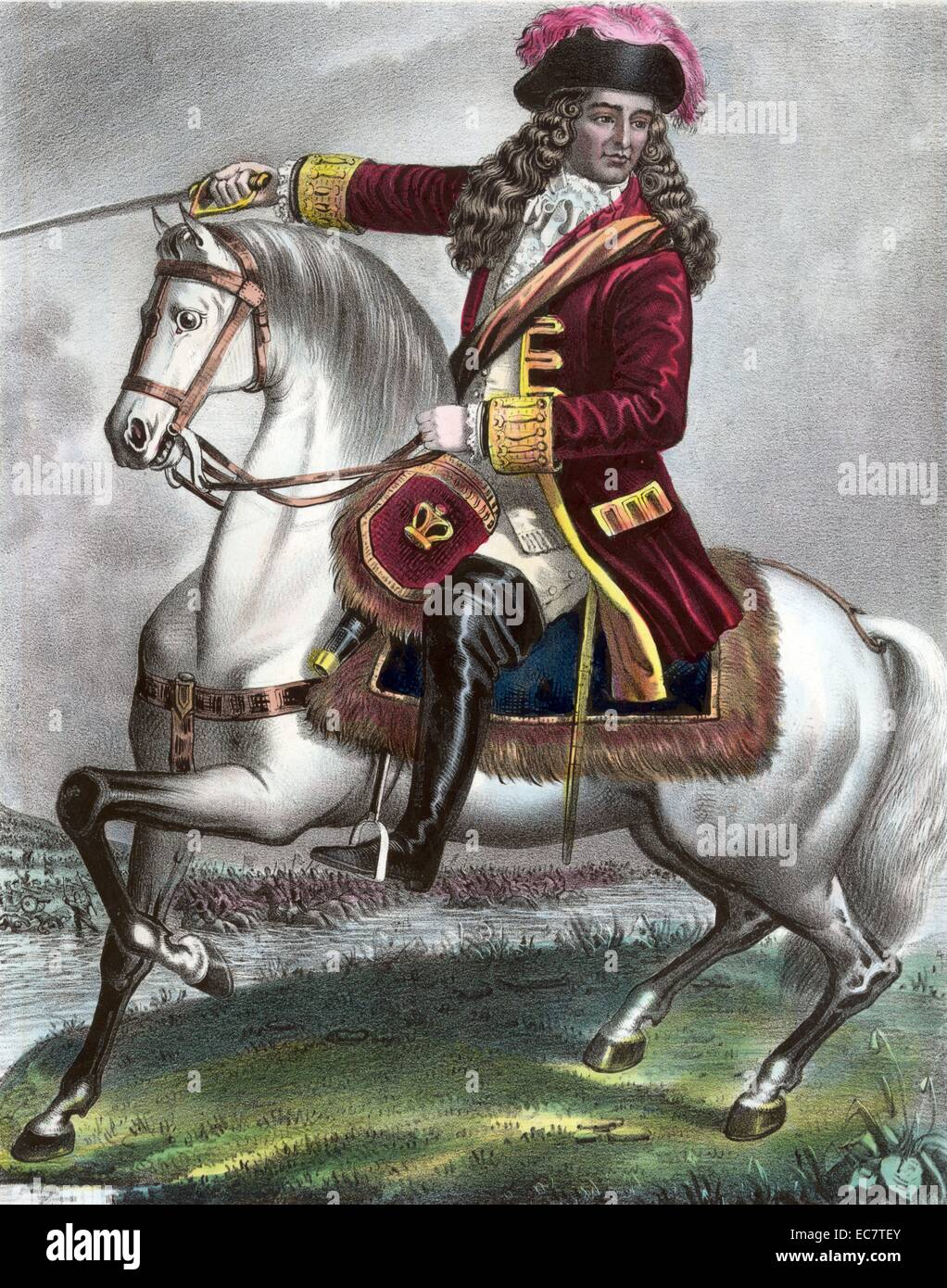 William of Orange, shown riding a horse. William III fought the Catholics at The Battle of Boyne. Dated around 1690 - Stock Image