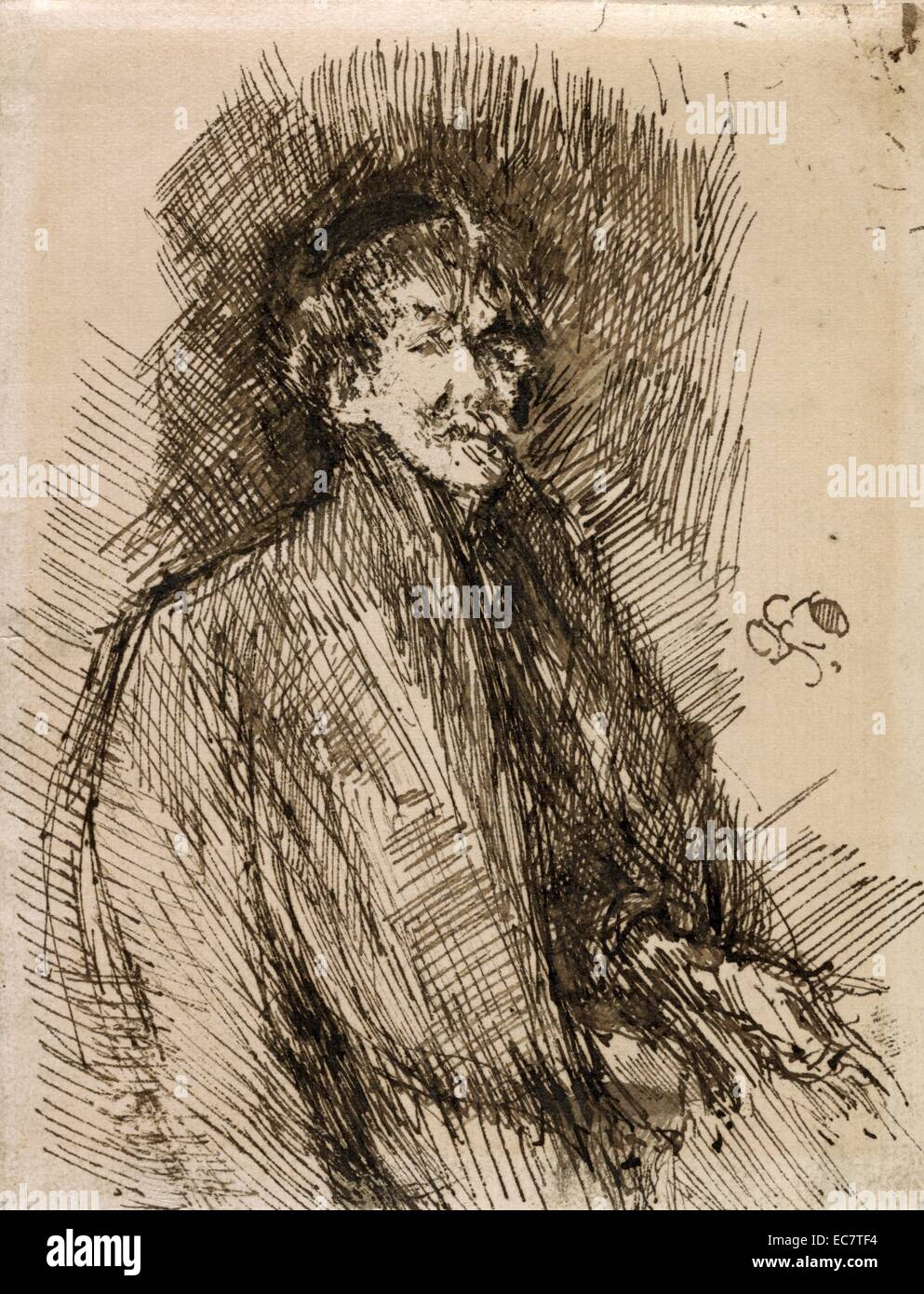 Self-portrait of Whistler, by James McNeill Whistler, 1834-1903. - Stock Image
