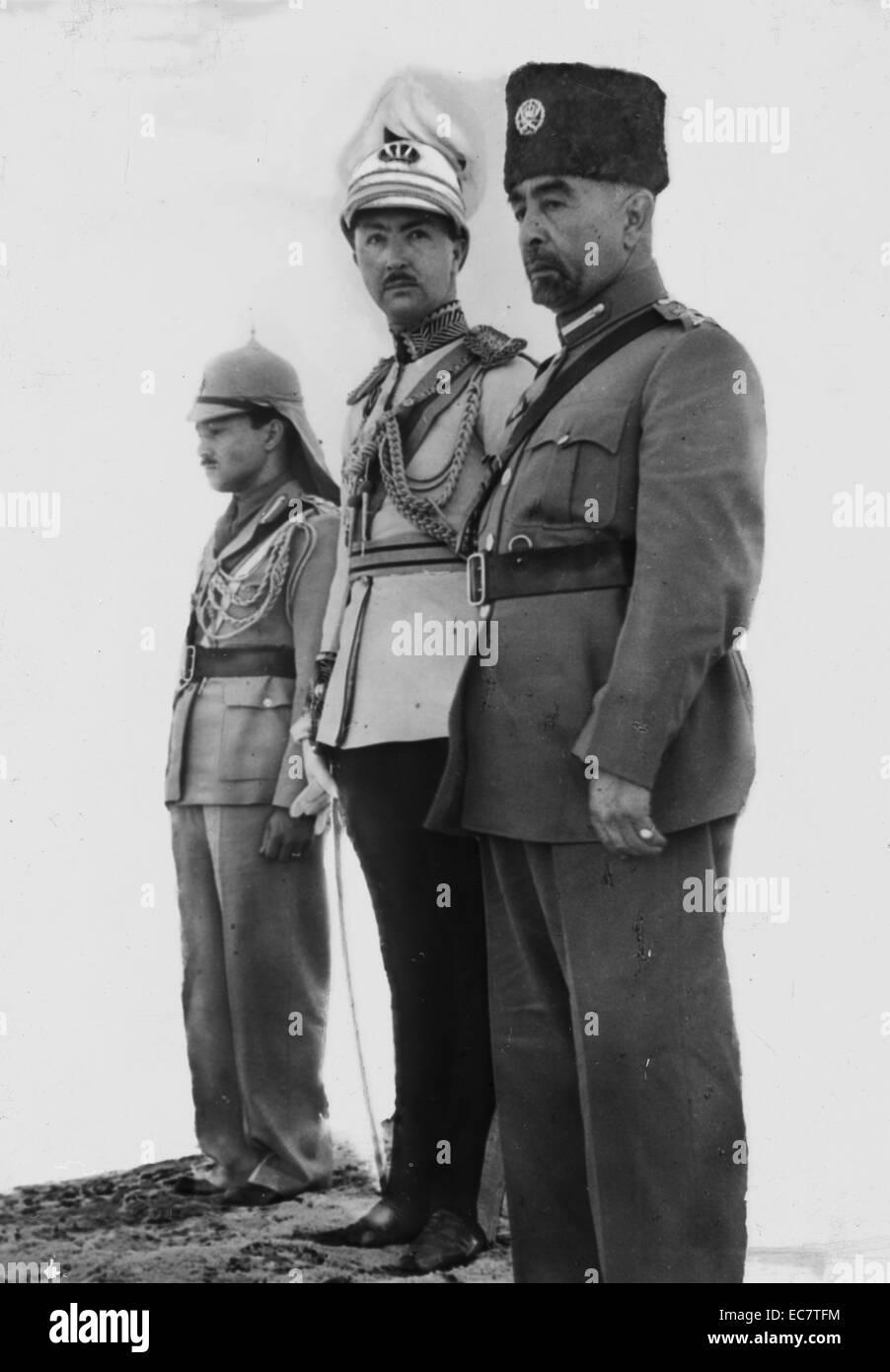 The Coronation of King Abdullah in Amman. From right to left, King Abdullah, Emir Abdul Illah (Regent of Iraq), Stock Photo