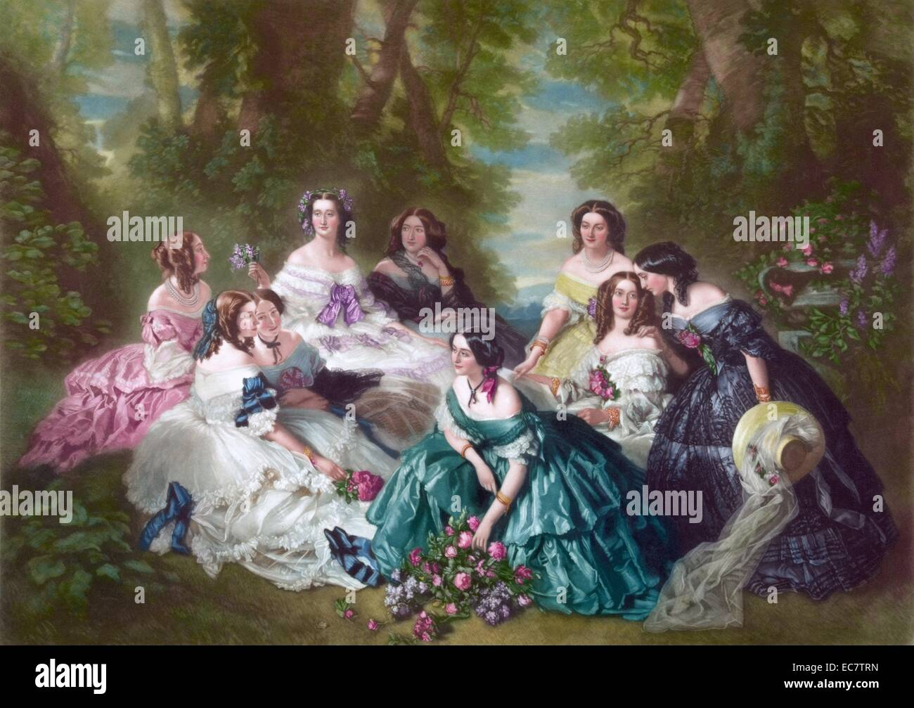 Eugénie, empress of the French and her maids of honor - Stock Image