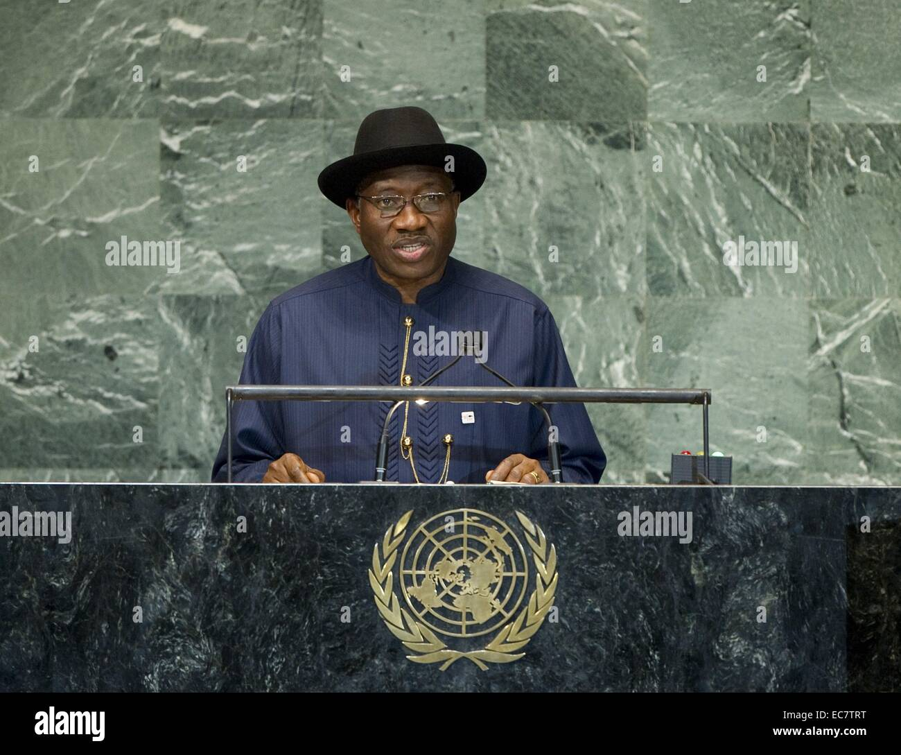 Goodluck Jonathan, President of Nigeria Addresses the General Assembly of the United nations  2012 - Stock Image