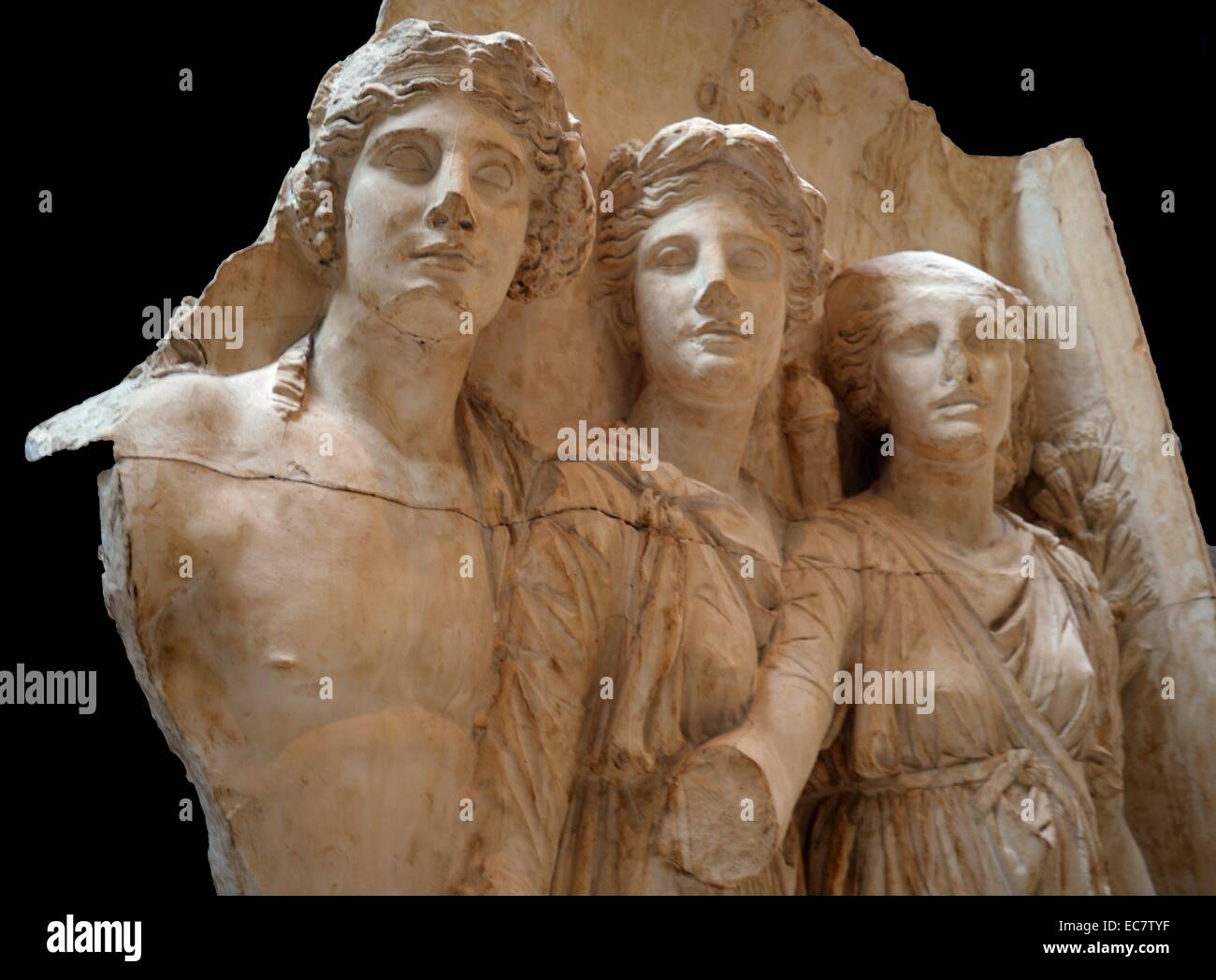 Gods of countryside.  Arch of Trajan at Beneventum, AD 114.  These gods represent the prosperity of the countryside: Stock Photo
