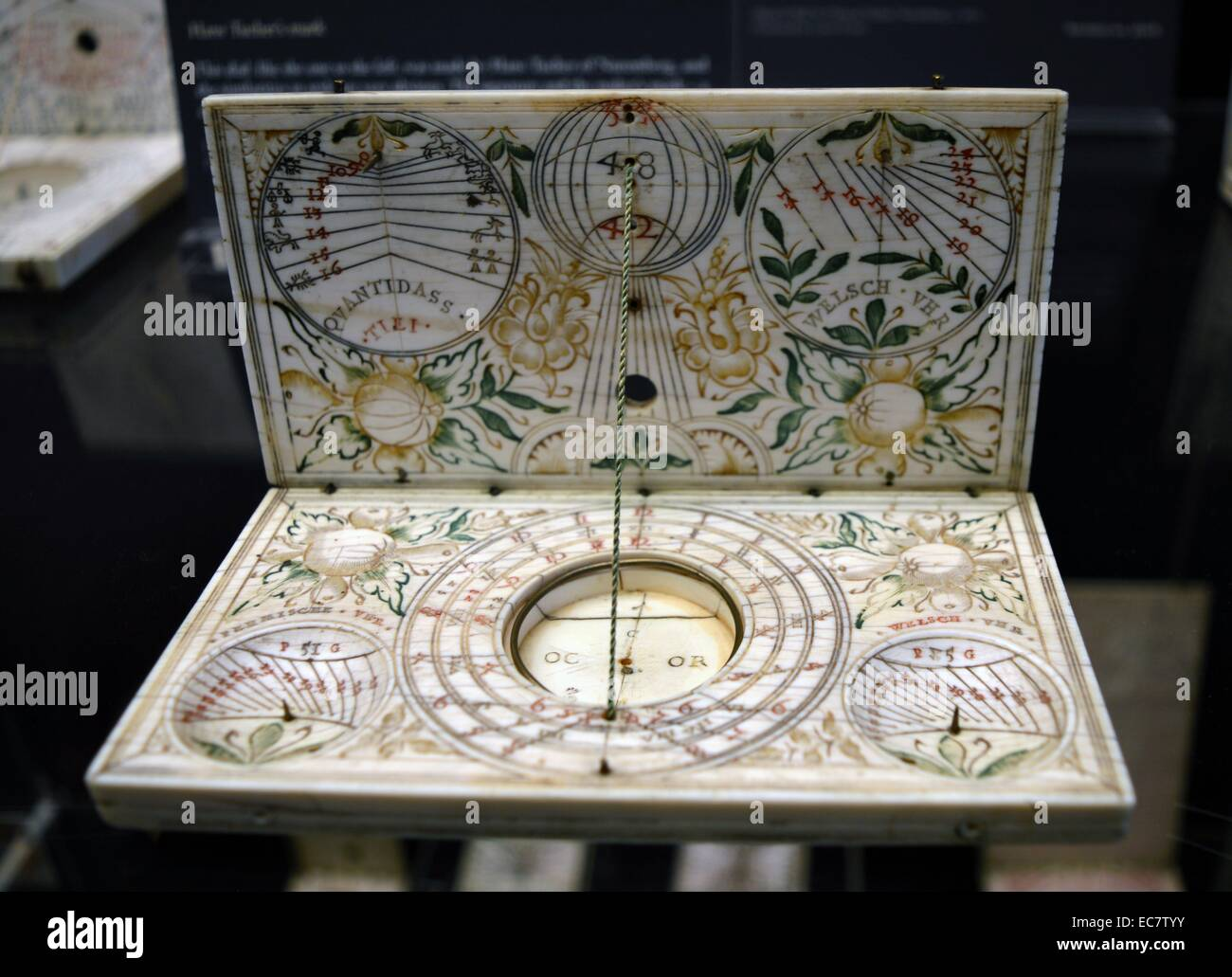 Dial with unusual decoration.  A dial notable for its engraving of two Ottoman Turks on the outer surface of both - Stock Image