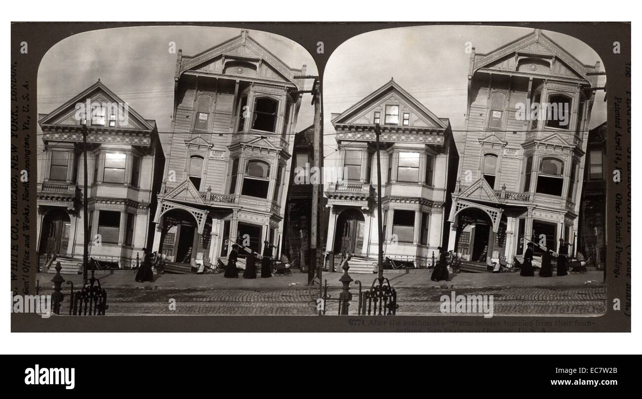 Aftermath of the San Francisco earthquake of 1907. Shows buildings leaning, after the foundation structure was damaged. - Stock Image