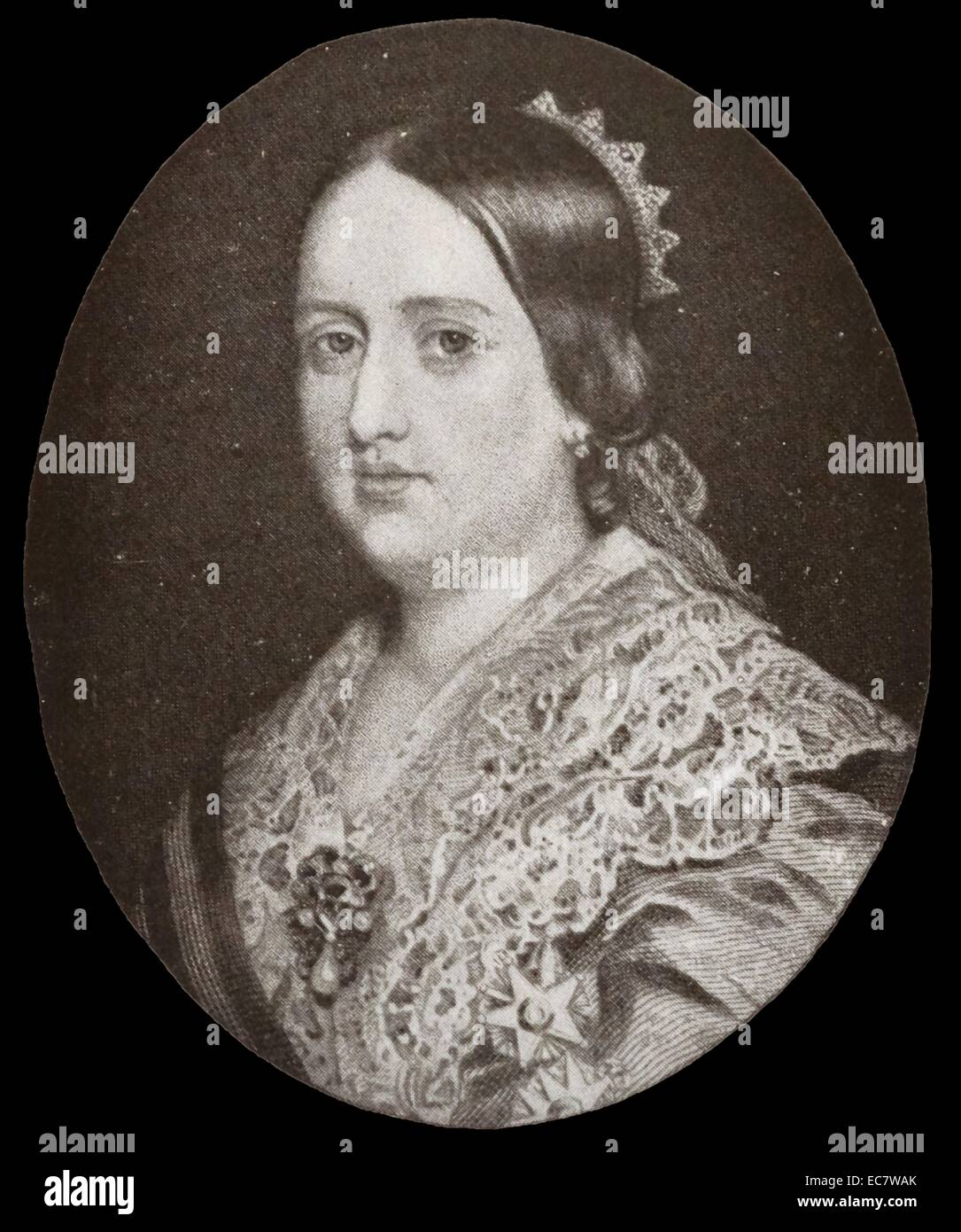"Dona Maria II (4 April 1819 – 15 November 1853) ""the Educator"" Queen regnant of Portugal from 1826 to 1828 and again Stock Photo"