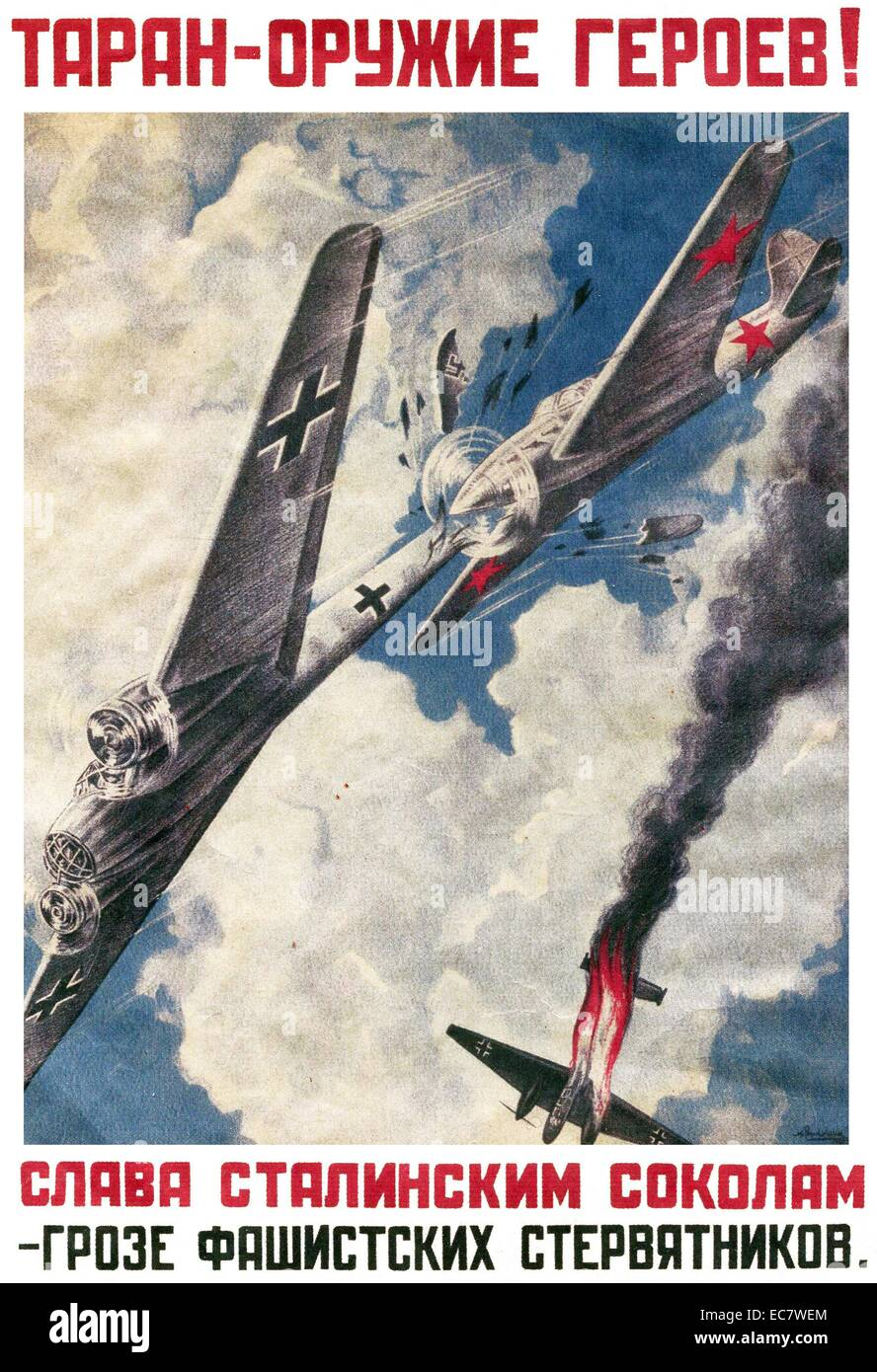 Russian propaganda poster from the Second World War - Stock Image