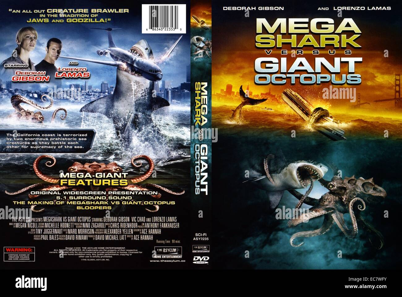 Mega Shark Versus Giant Octopus is a monster film by The Asylum, released 2009 - Stock Image