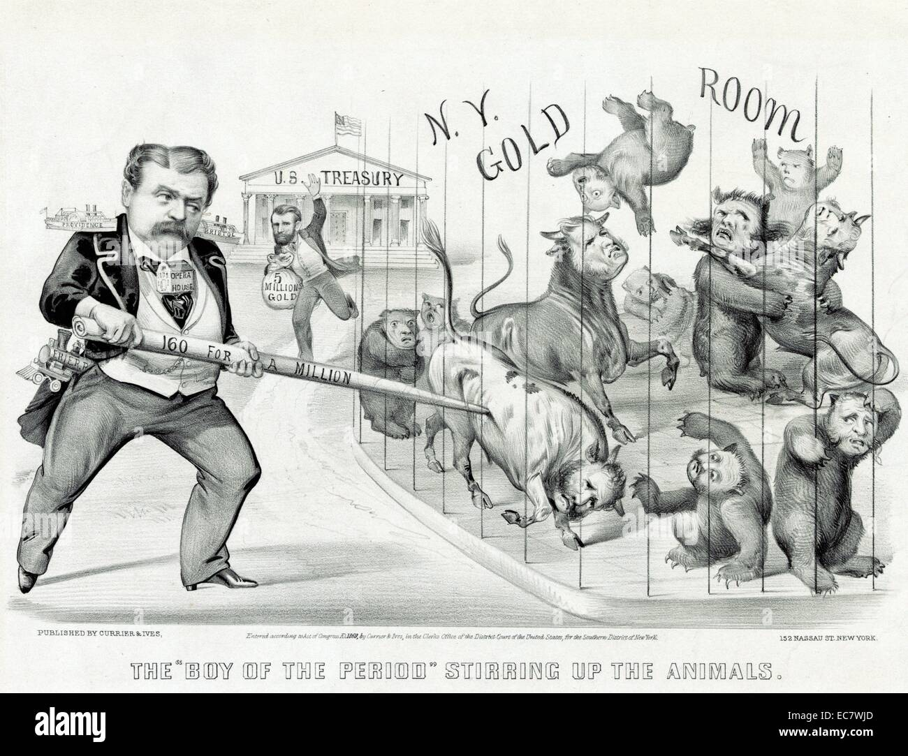 Caricature of financier Jay Gould - Stock Image
