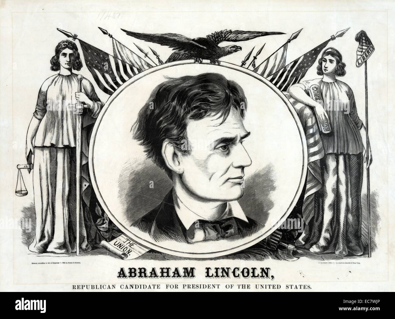 Large campaign banner or poster for Republican presidential candidate Abraham Lincoln - Stock Image