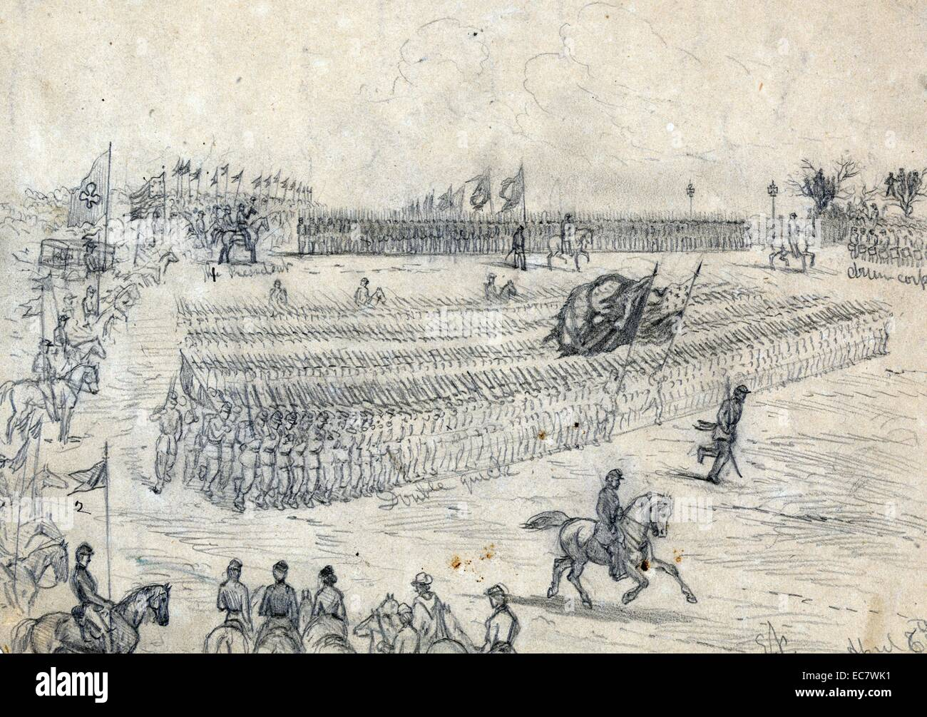Review of the Army of the Potomac, commanded by Gen. Joe E. Hooker, by President Abraham Lincoln - Stock Image