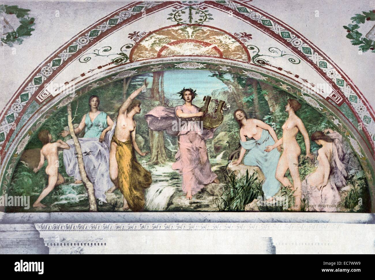 South Corridor, Great Hall. Lyric Poetry mural by Henry O. Walker. Library of Congress Thomas Jefferson Building, - Stock Image