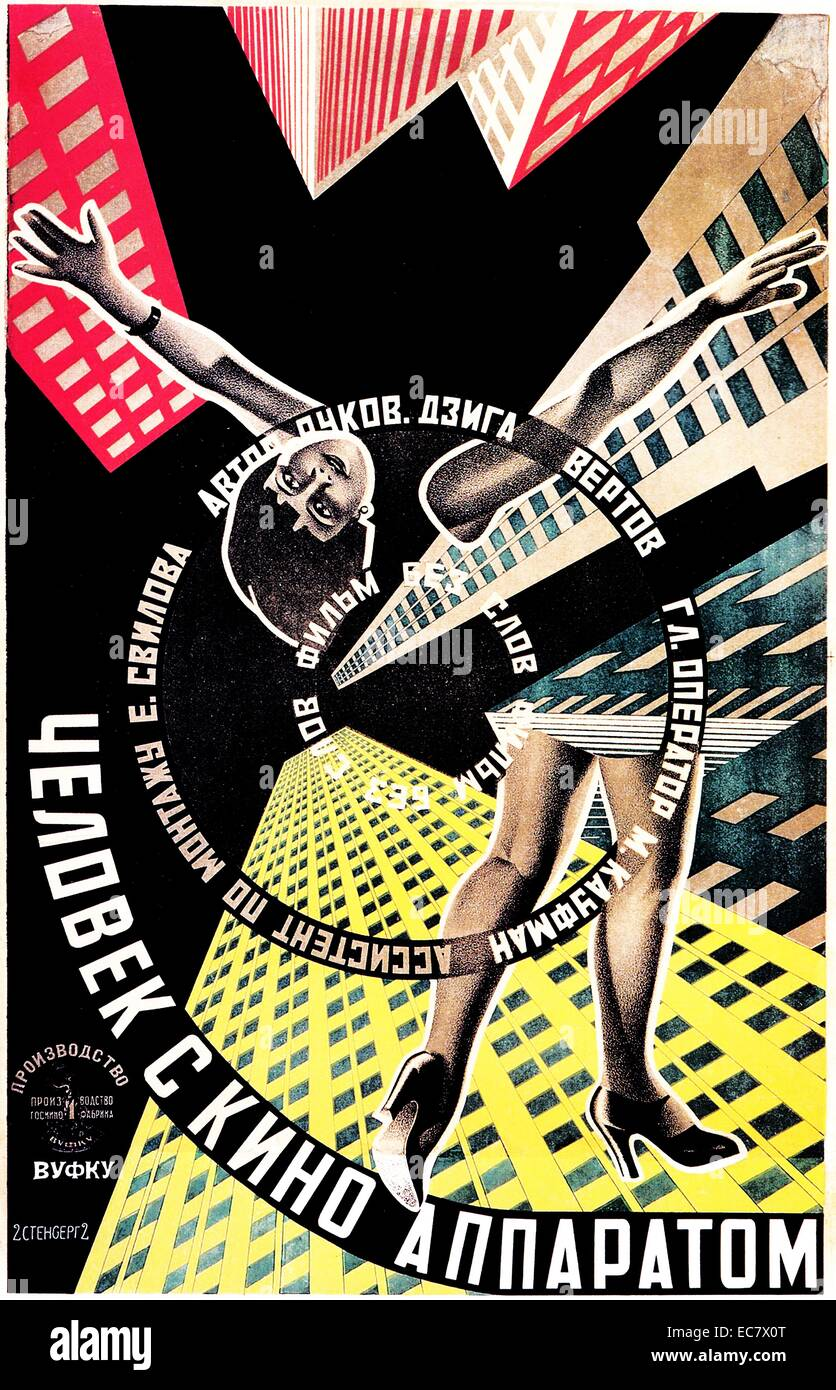 Man with a Movie Camera; 1929 Russian silent documentary film Poster - Stock Image