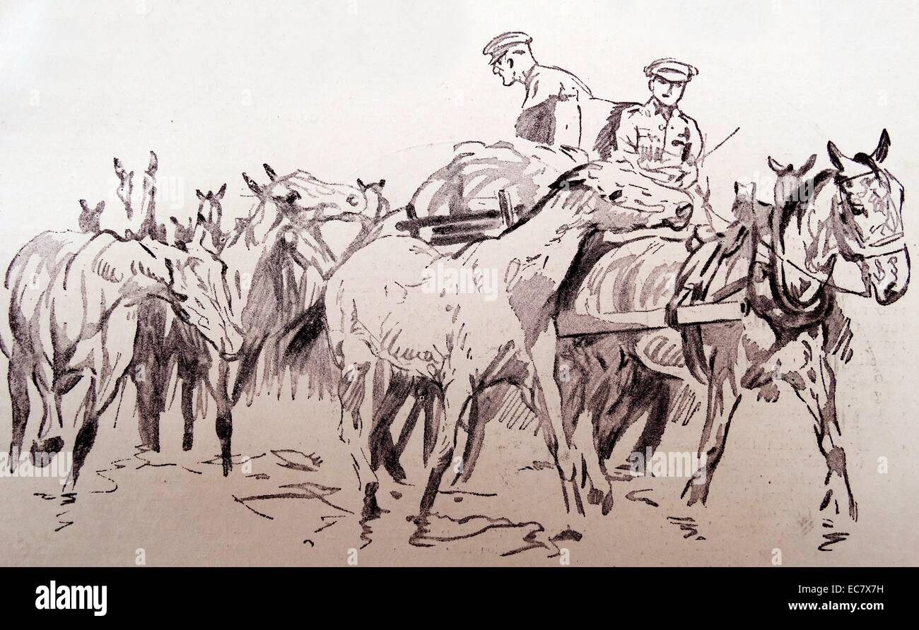 sketch of British cavalry during world one 1915 - Stock Image
