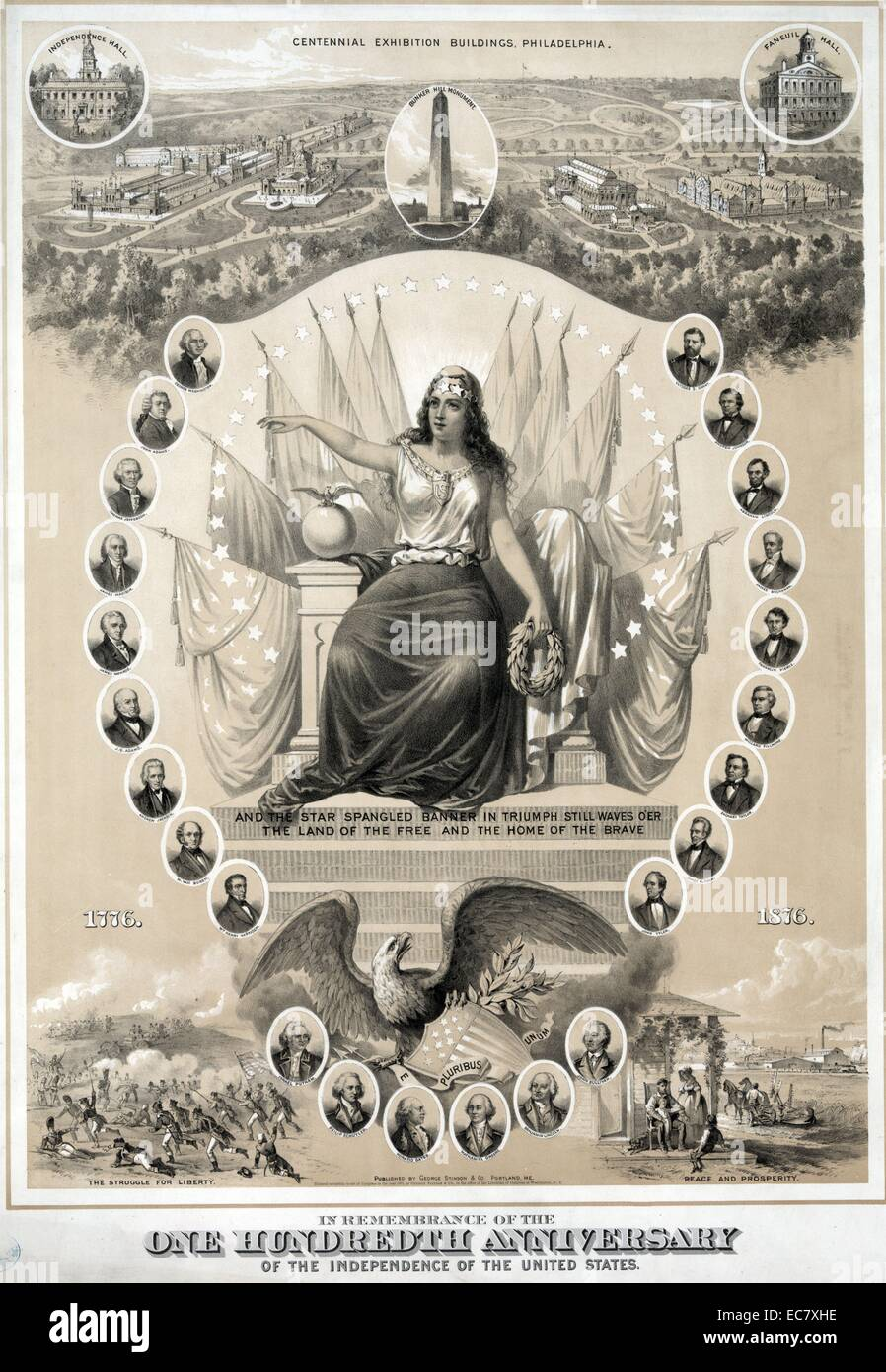 Commemorative print of one hundred years of independence in the United States Stock Photo