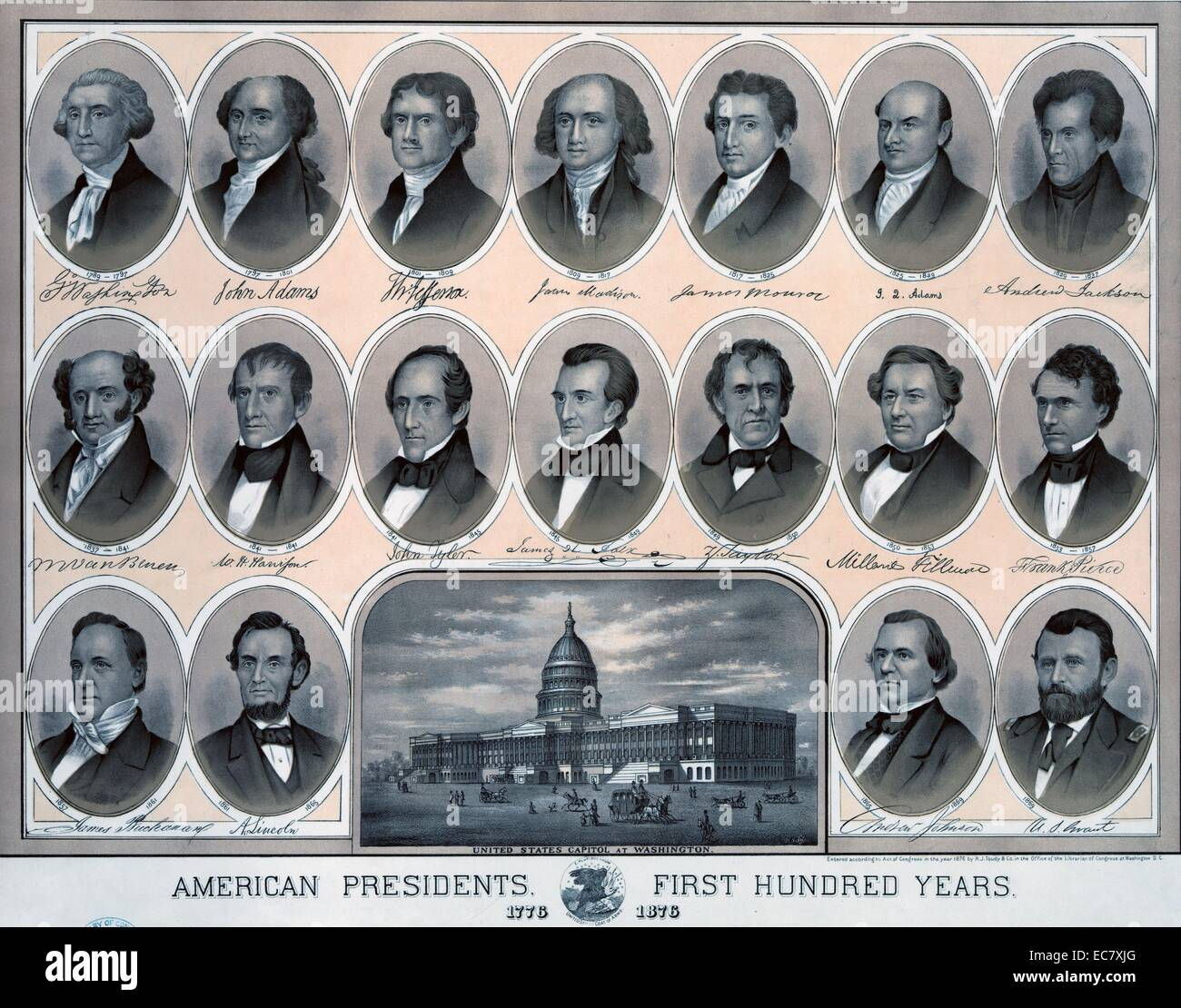 First hundred years of American Presidents - Stock Image