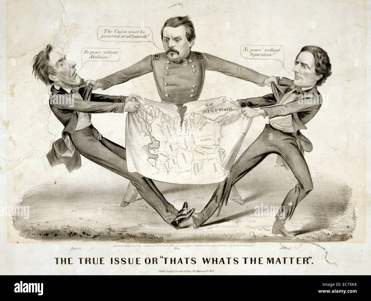 Pro-Democrat cartoon from 1860s - Stock Image