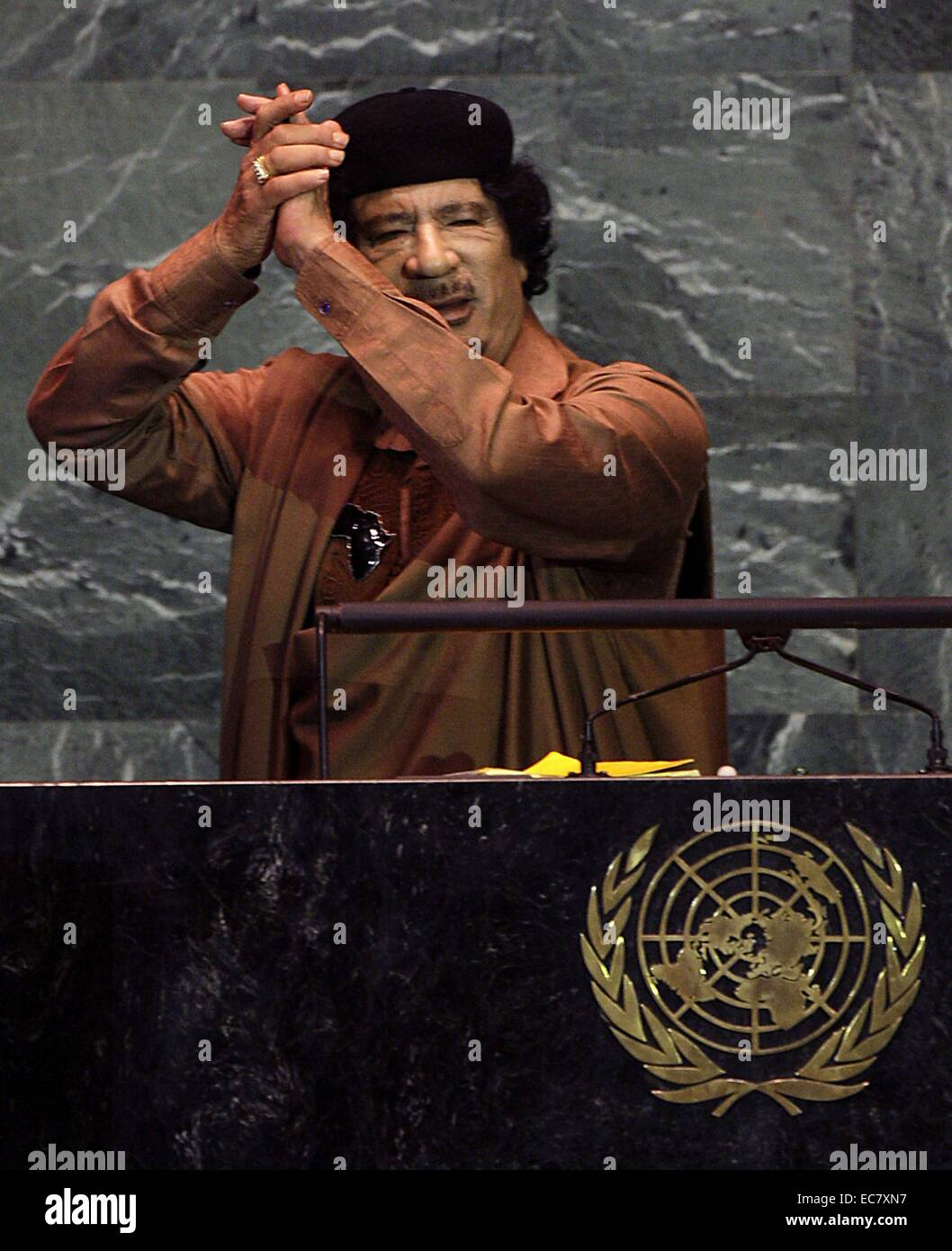 Muammar Gaddafi;    Libyan ruler  Addressing the UN General Assembly 2009 - Stock Image