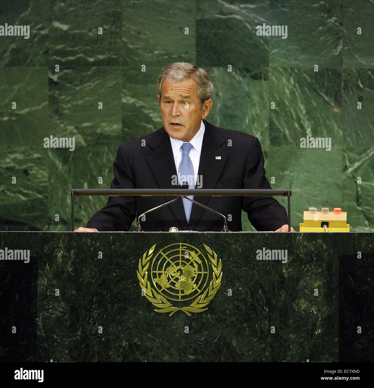 George W Bush US president 2001-2009 addresses the UN General Assembly 2007 - Stock Image