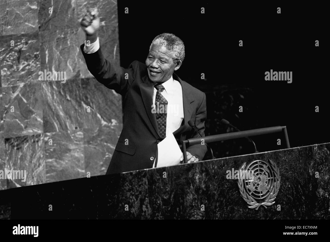 Nelson Mandela President of South Africa 1994-1998 addressing the UN General Assembly - Stock Image