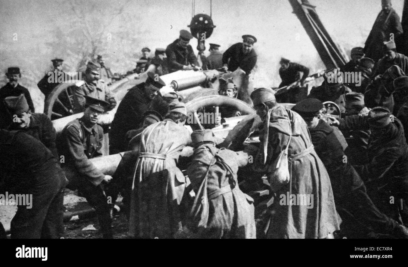 Serbian artillery during world war one - Stock Image