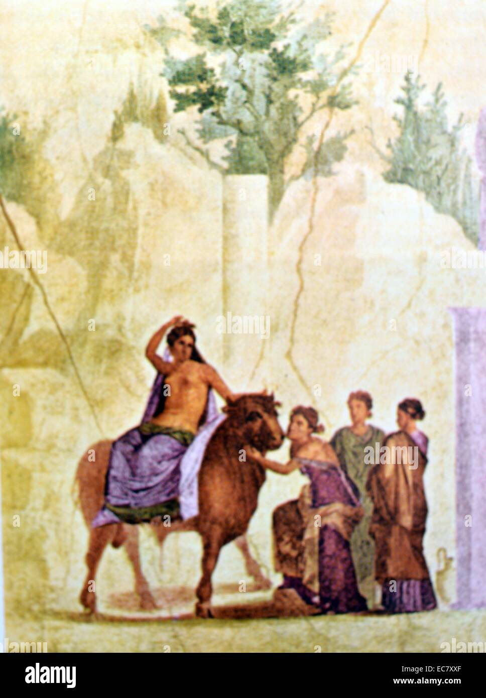 Europa and the Bull.  Wall painting from the house of the punished Cupid.  Pompeii, Third Pompeian style. Circa Stock Photo