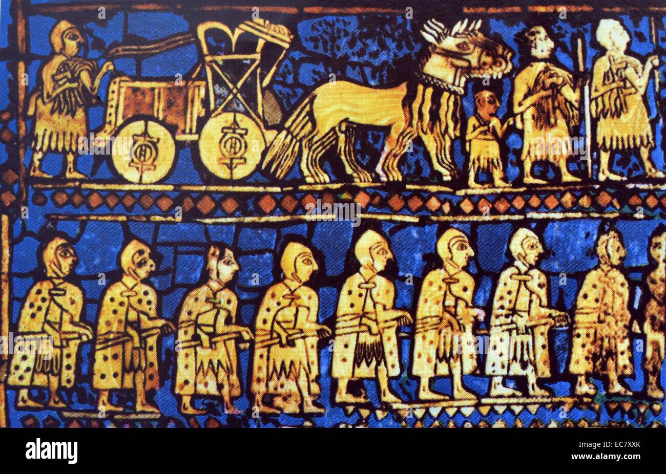 War.  Detail from the Standard of Ur, Sumerian, 2750-2650BC. - Stock Image