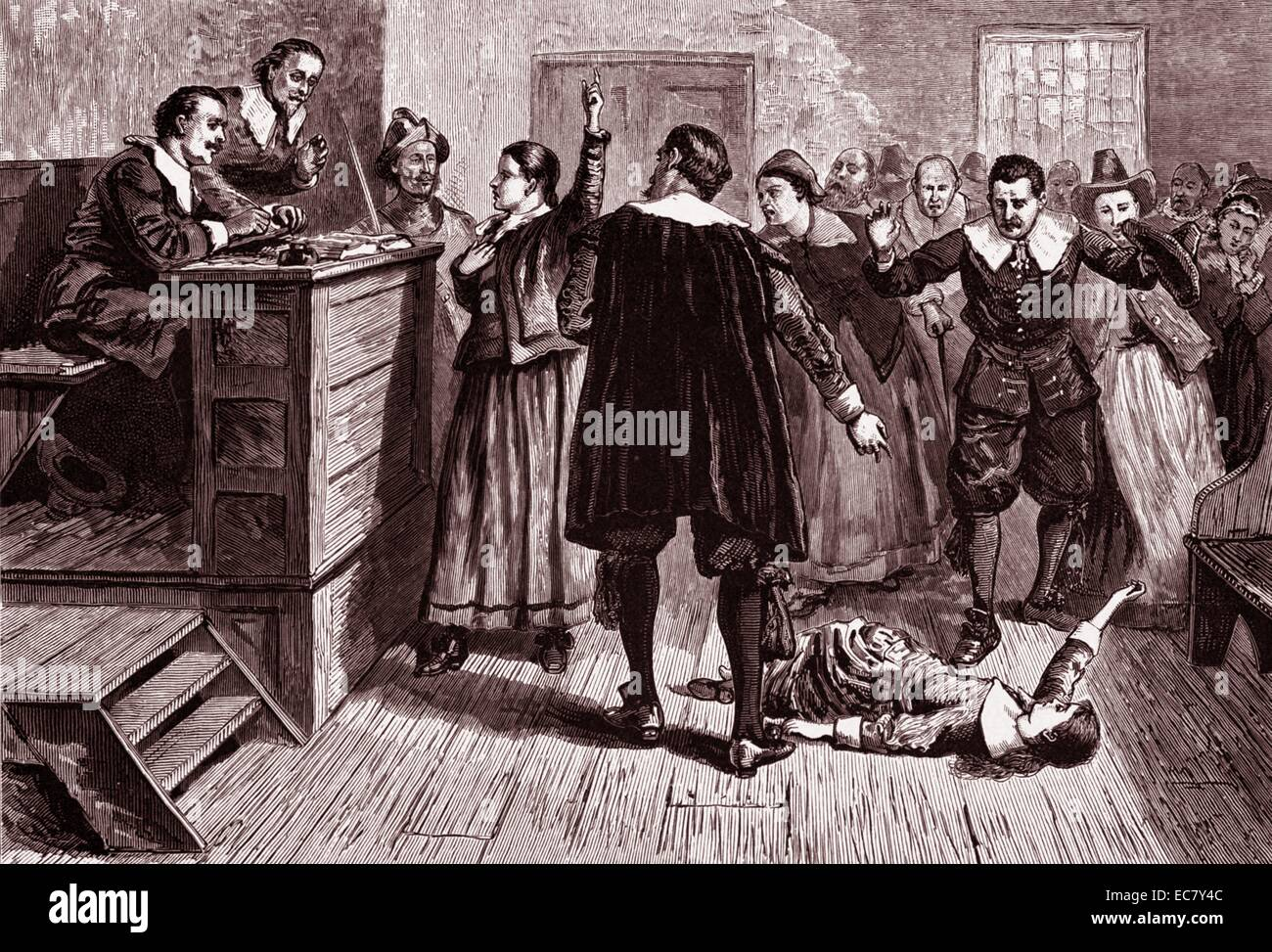 Engraving depicts witchcraft trial. Mary Walcott (1675-1720) is shown here as a witness. Dated 1876 - Stock Image