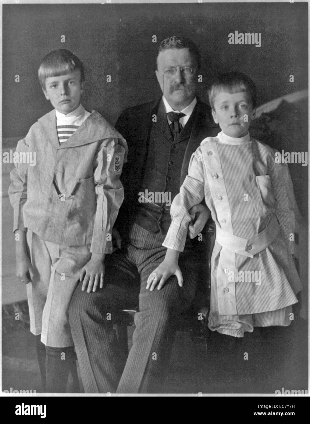 President Roosevelt with Archie Roosevelt and Quentin Roosevelt - Stock Image