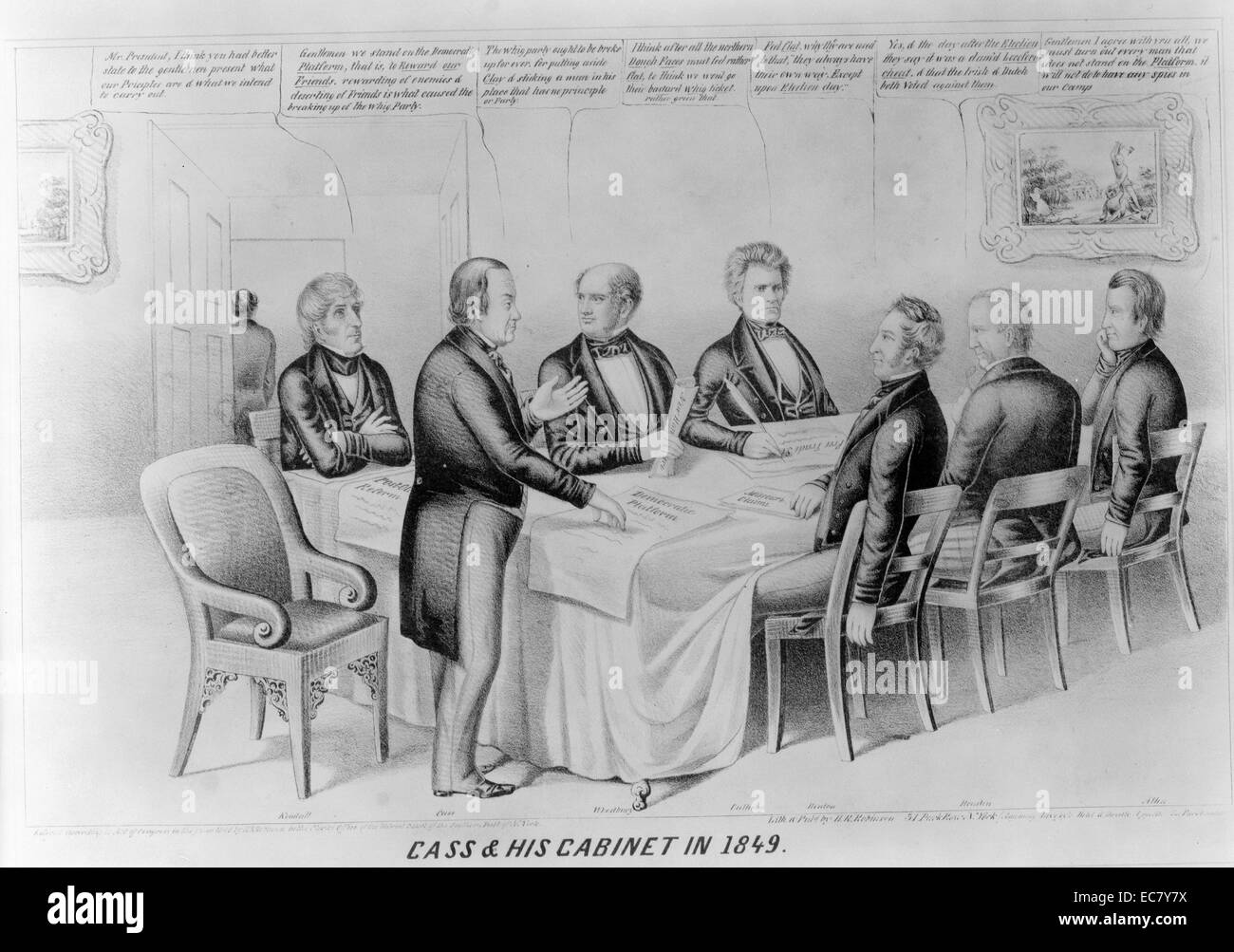 Cass & his cabinet in 1849' The satire imputes to the Democrats of 1848, led by candidate Lewis Cass, the corrupt Stock Photo