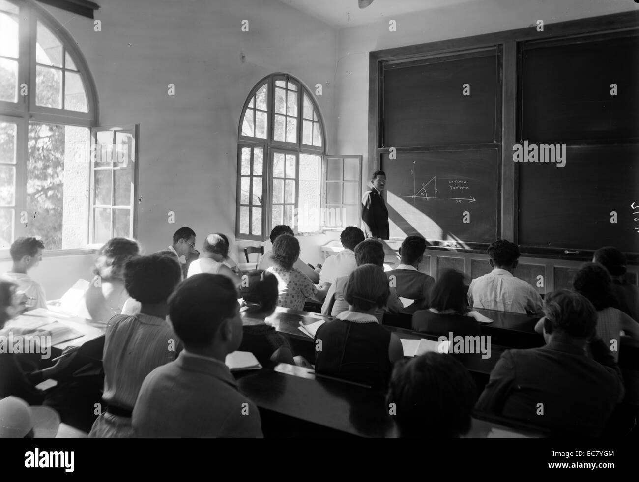 The Hebrew University. Class in mathematics. Einstein Institute - Stock Image