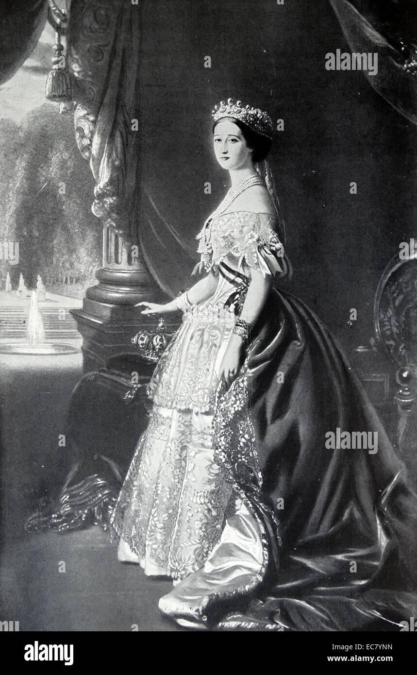 Eugenie de Montijo (1826 – 11 July 1920); last Empress consort of the French from 1853 to 1871 as the wife of Napoleon Stock Photo