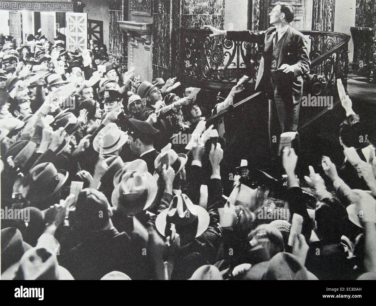 'American Madness', 1932.  Bank president Walter Hudson tries to calm a panic-stricken mob that is making - Stock Image