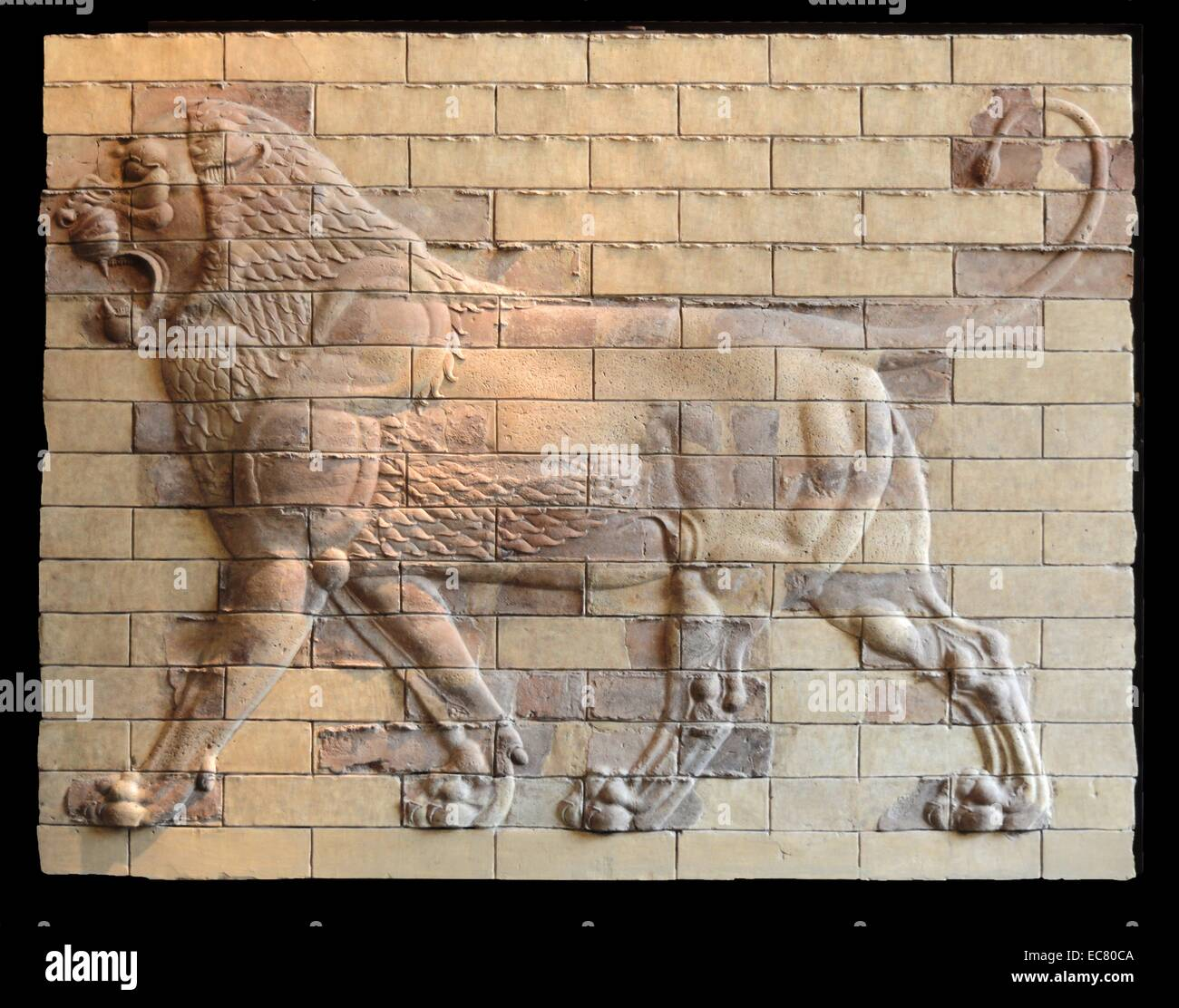 Decorative panels of molded bricks - terracotta. Shushan, the Palace of Darius. - Stock Image