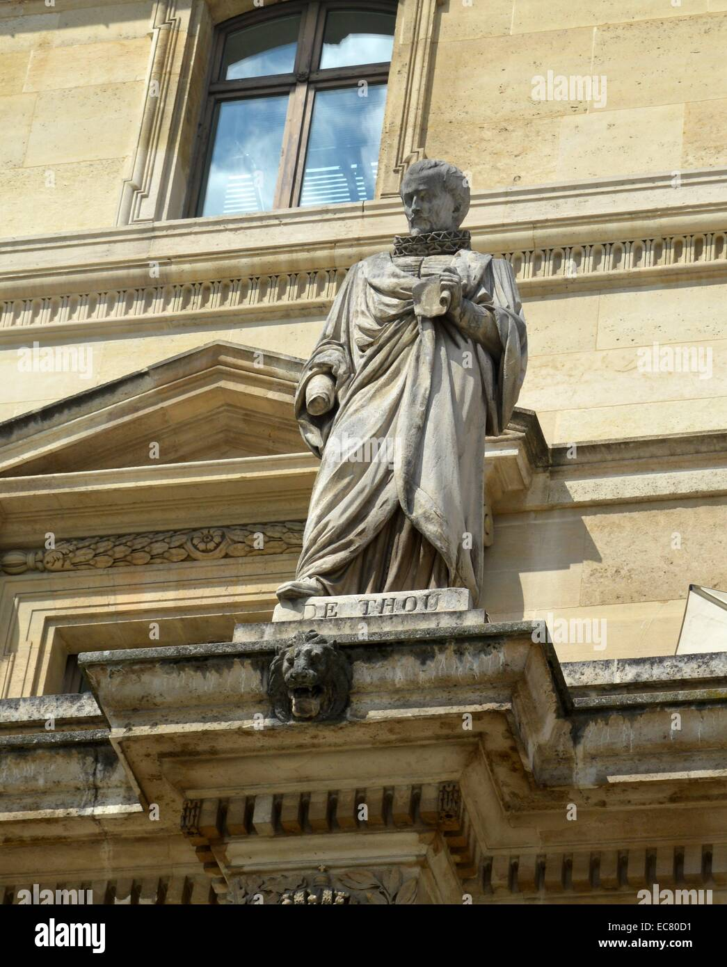Marble statue of Jacques Auguste de Thou - Stock Image