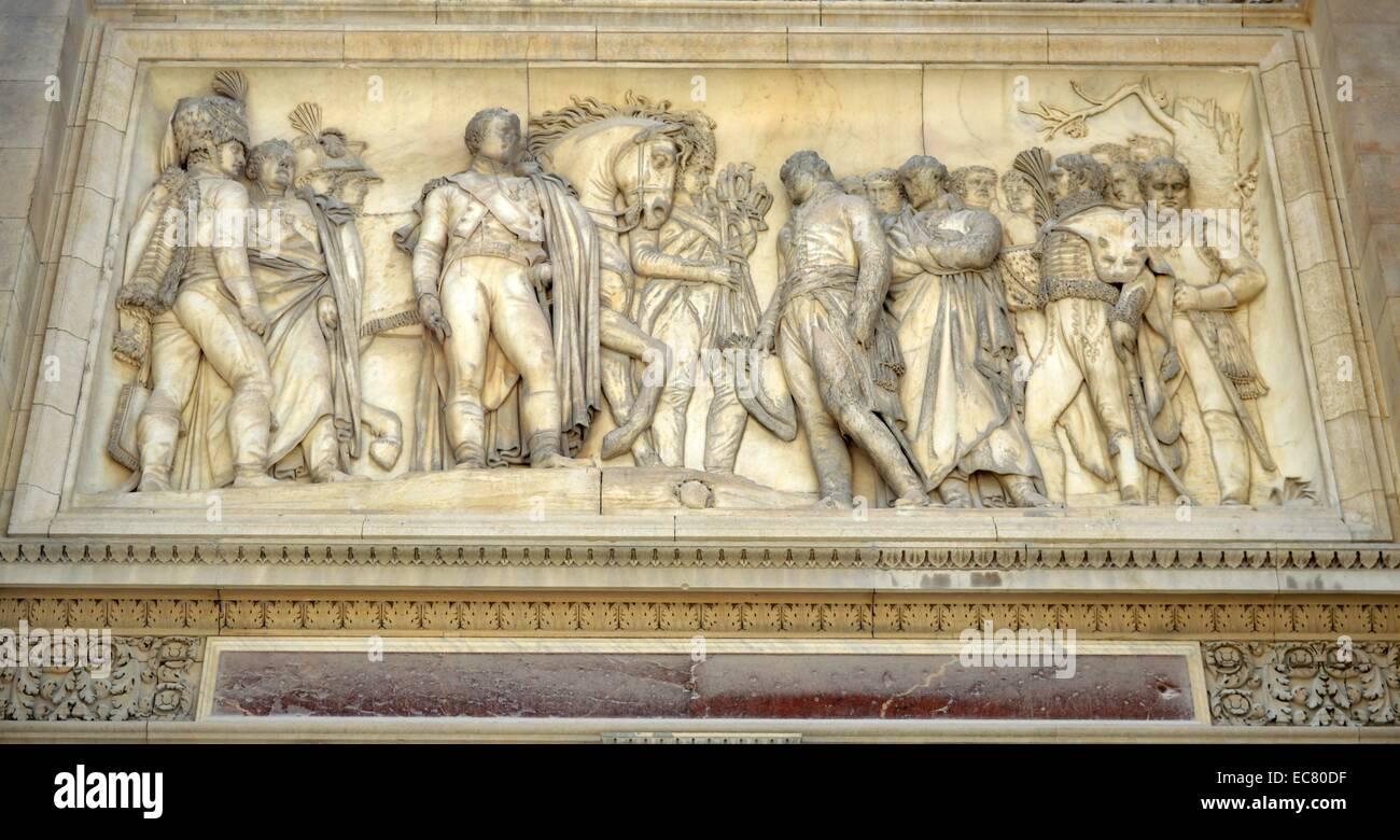 The Arc de Triomph du Carrousel is a triumphal arch in Paris. - Stock Image