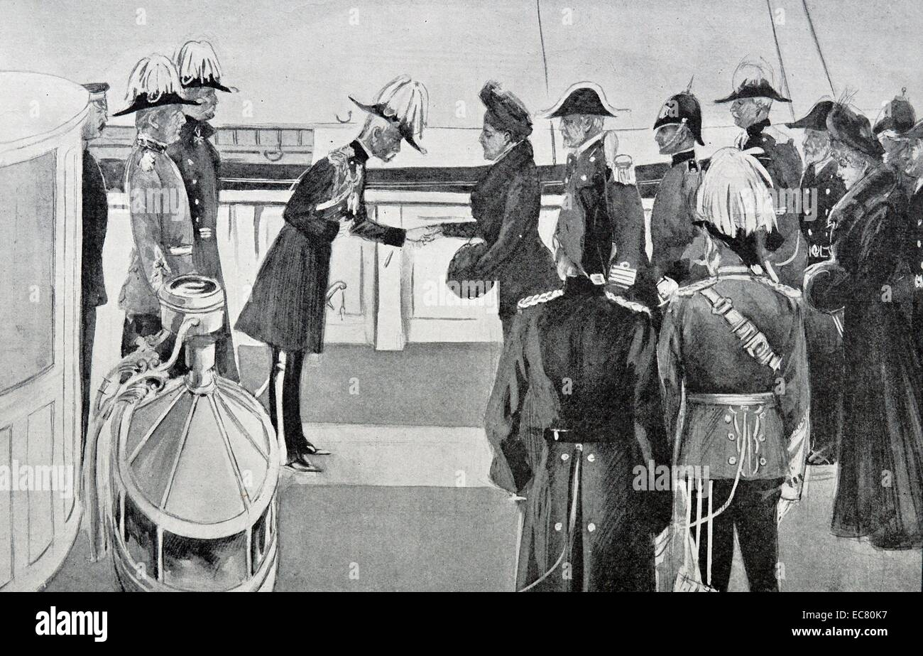 Engraving of Princess Henry of Battenberg Receiving Lord Roberts - Stock Image