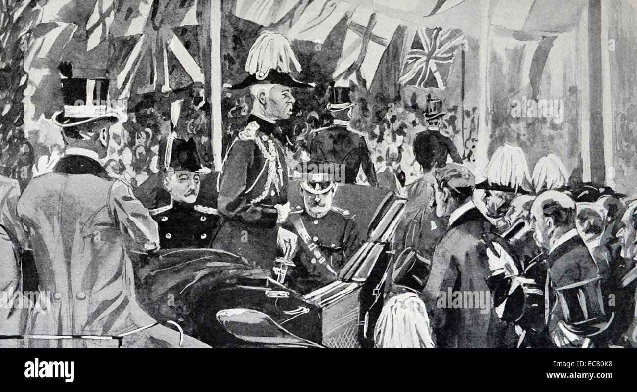 Engraving of Field Marshal Frederick Sleigh Roberts (1832 – 1914) returning to his reception at Cowes, Isle of Wight. - Stock Image