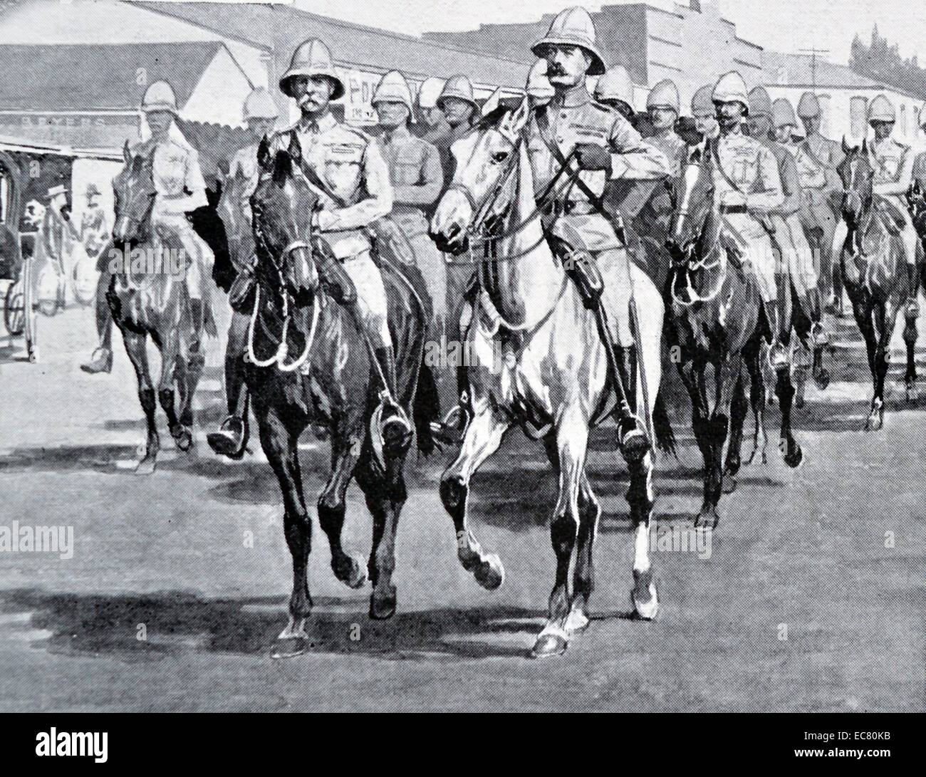 Engraving depicts Field Marshal Frederick Sleigh Roberts (1832 – 1914) entry into Pretoria. Dated 1901 - Stock Image