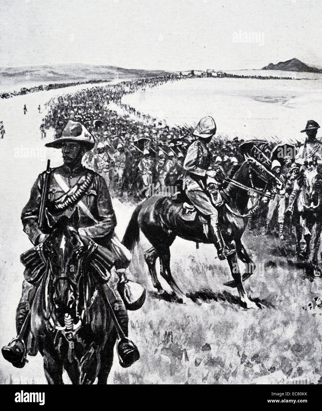 British forces march across the Veldt in South Africa during the Boer war - Stock Image