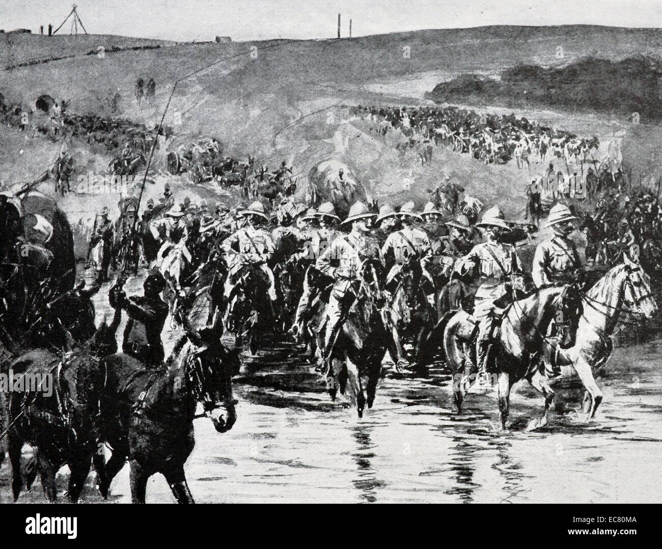 Engraving of Lord Roberts Crossing the Vaal - Stock Image