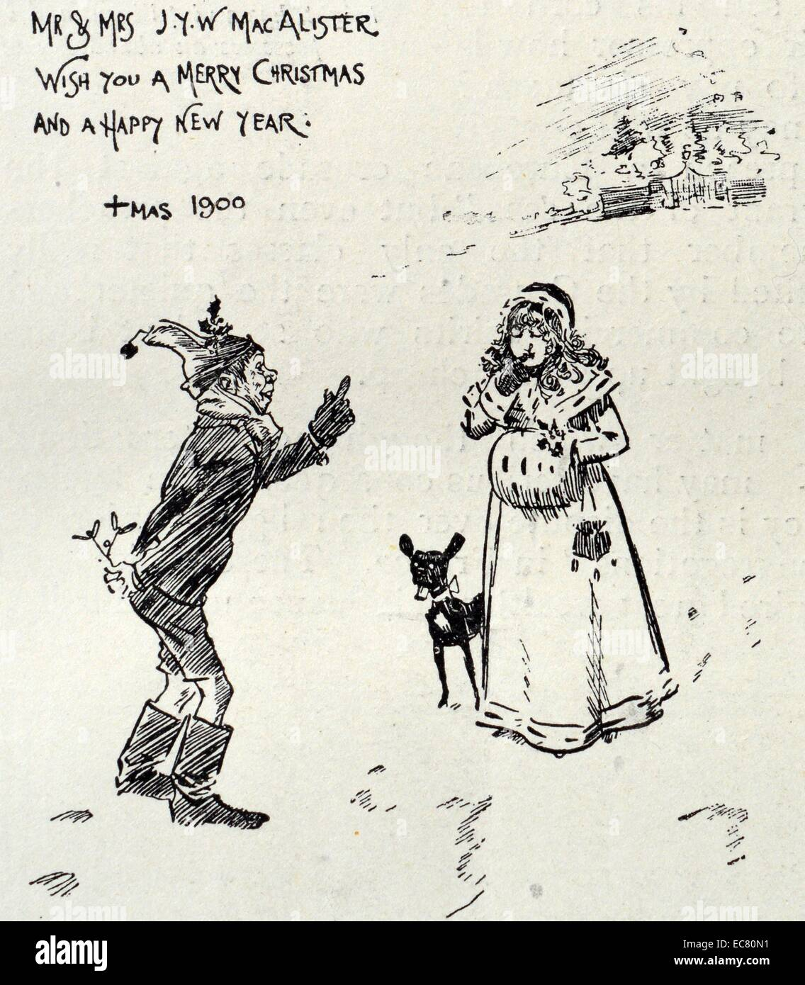 Hand drawn Christmas card designed by Phil May (1864-1903) an English caricaturist. Dated 1900 - Stock Image