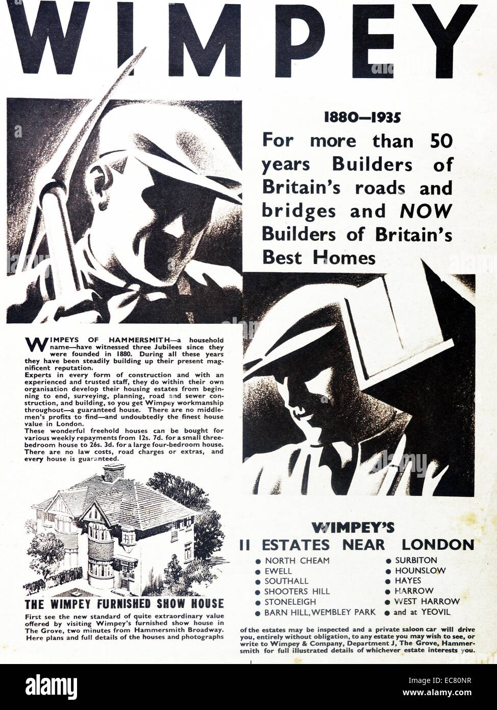 Advert for Wimpey show homes. Dated 1935 - Stock Image