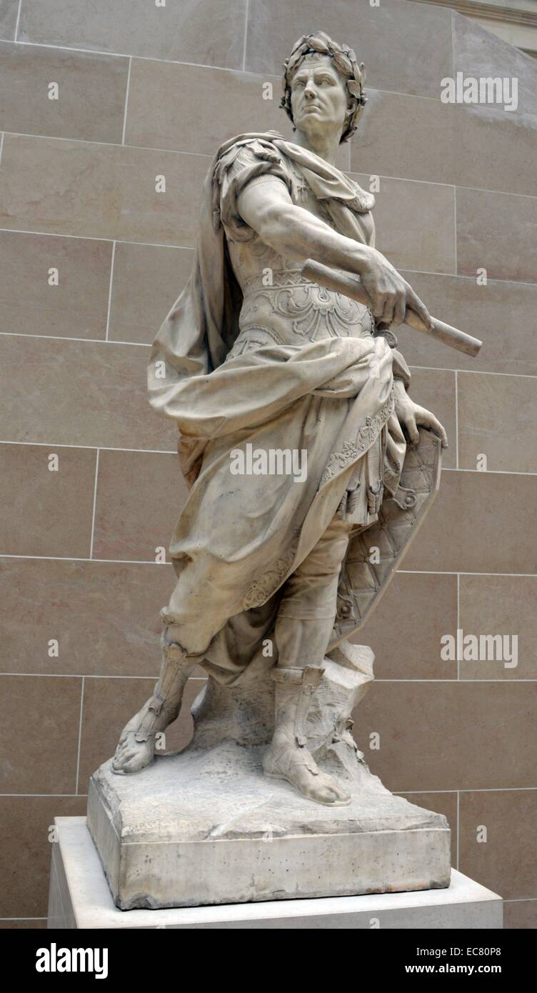 Julius Caesar by Nicolas Coustou (1658-1733) was a French sculptor and academic. Dated 17th century. - Stock Image