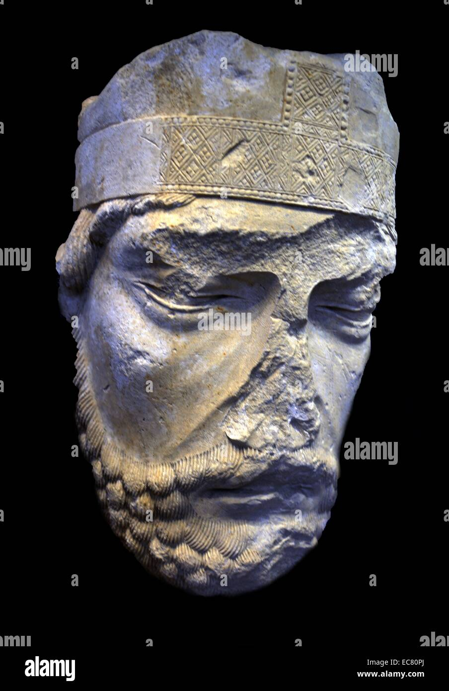 Stone statue of Head miter bishop by Picardy, third quarter of the 12th century. Stock Photo