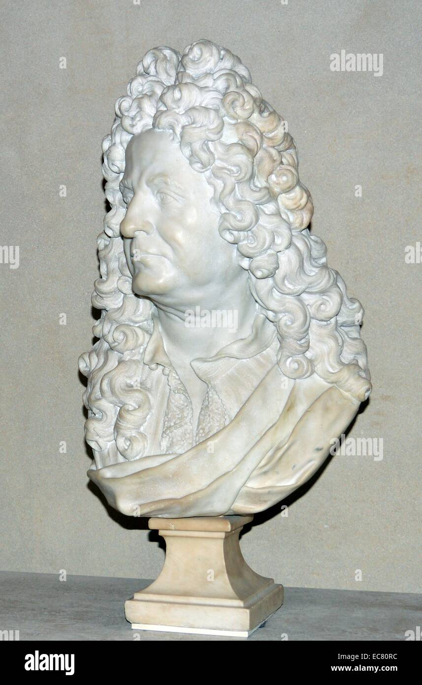 Marble bust (french) of a statesman 18th century - Stock Image