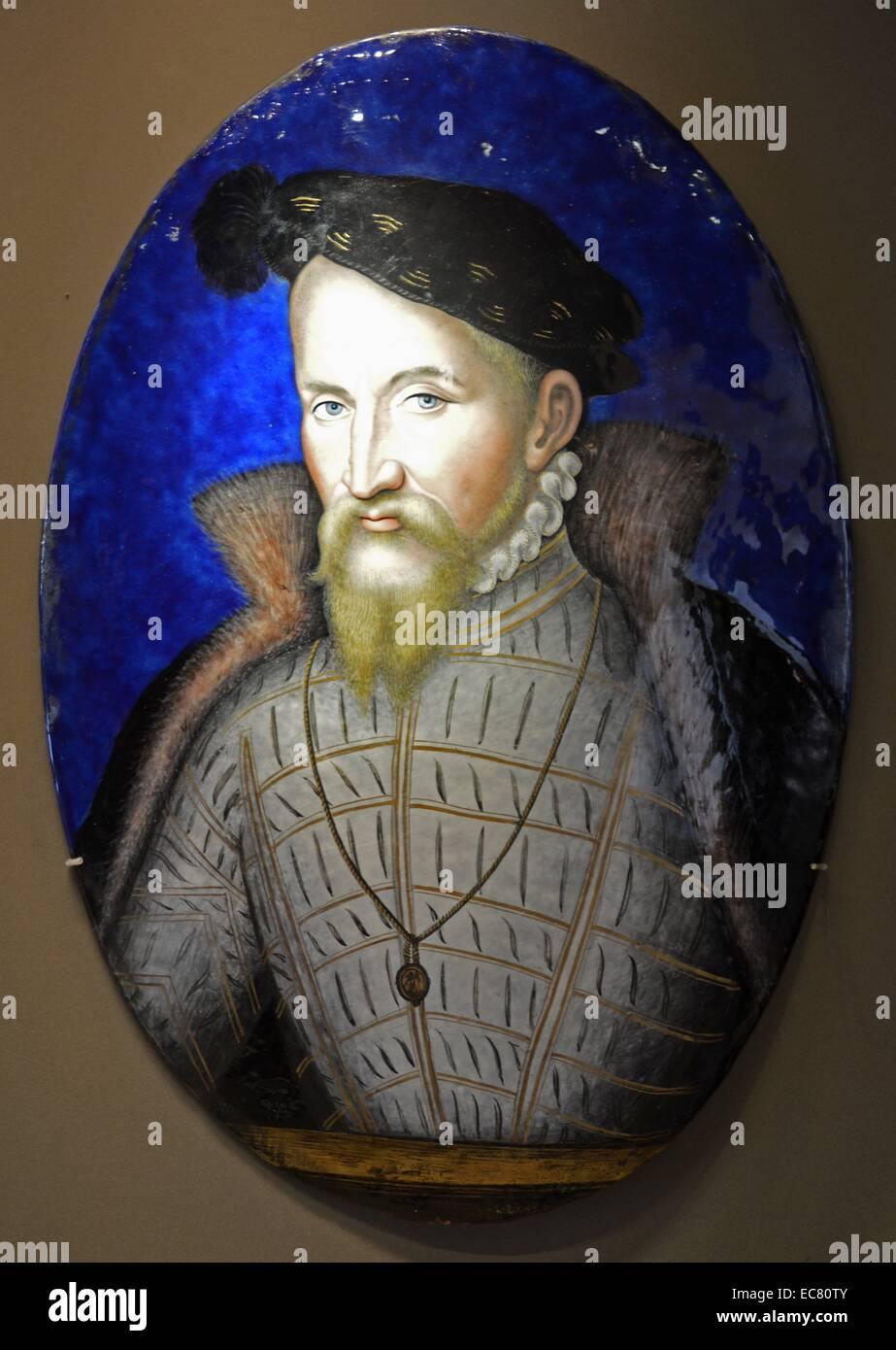 Copper plate enamelled by Leonard Limosin - Stock Image