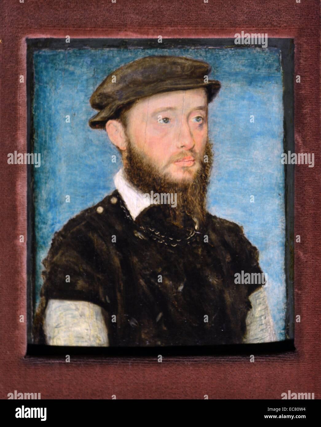 jean de Bourbonne; Copper plate enamelled by Leonard Limosin - Stock Image