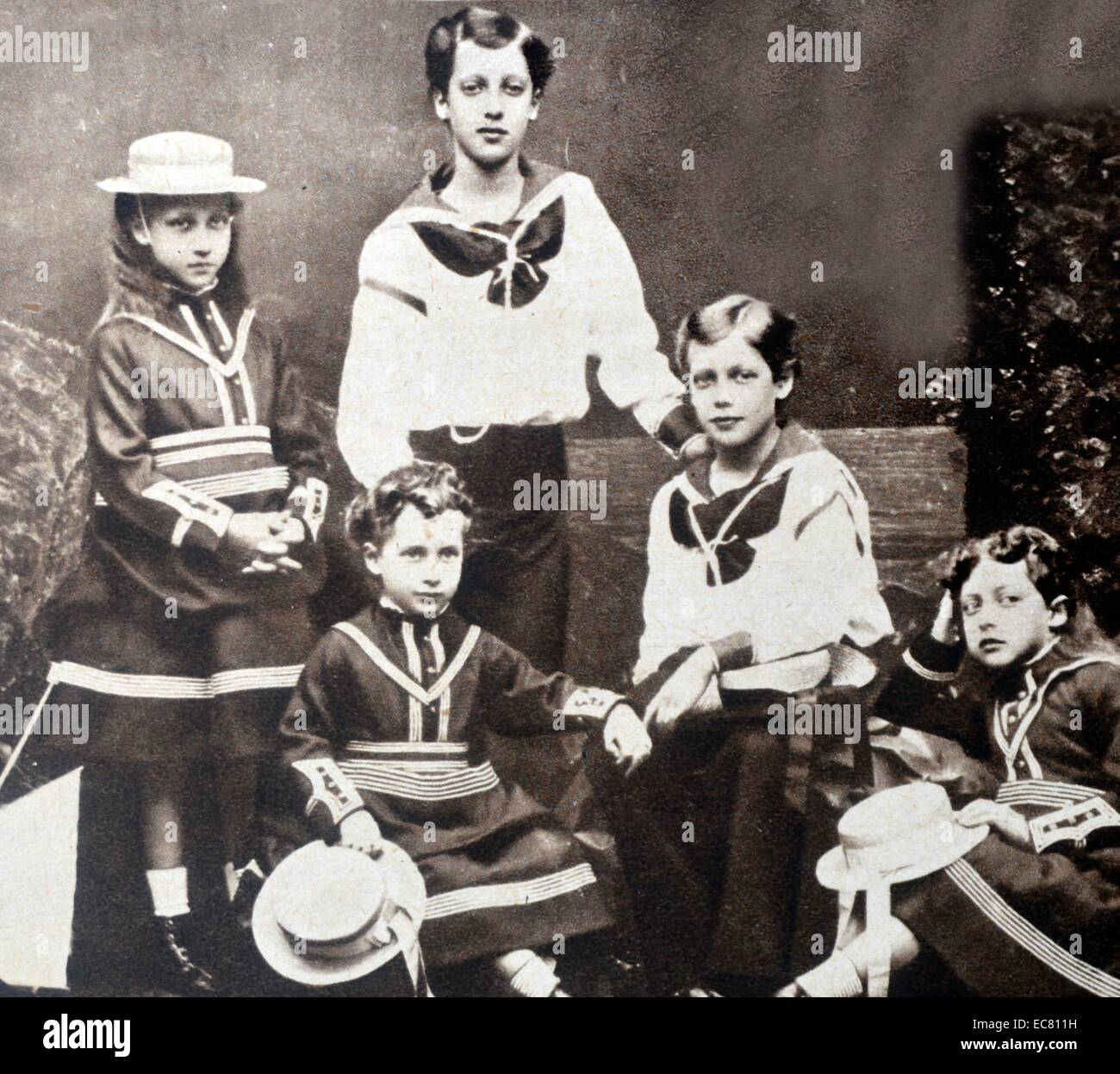 Photograph of the Children of King Edward VII - Stock Image