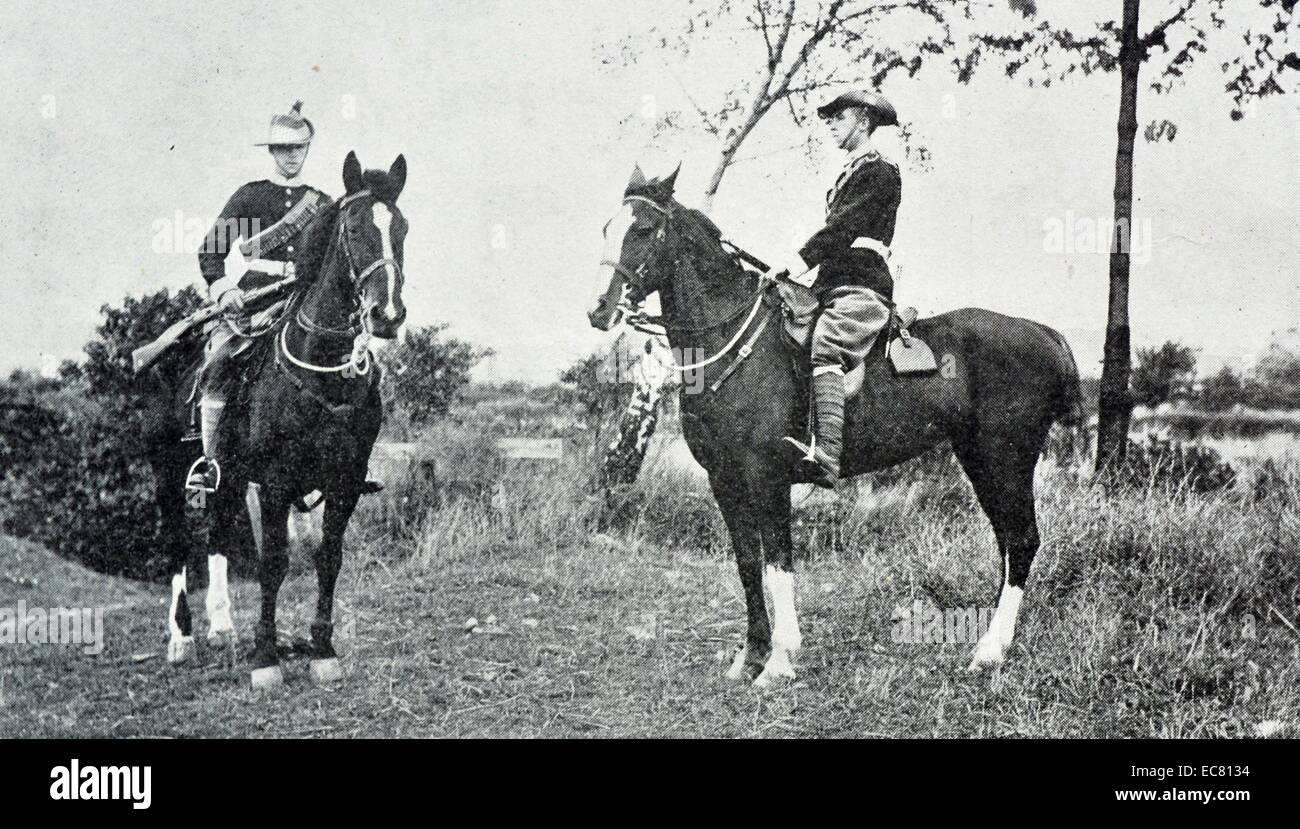 Photograph of a type of mounted infantry. Dated 1901 - Stock Image